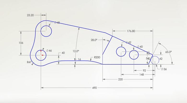 SOLIDWORKS sketch and dimension scaling