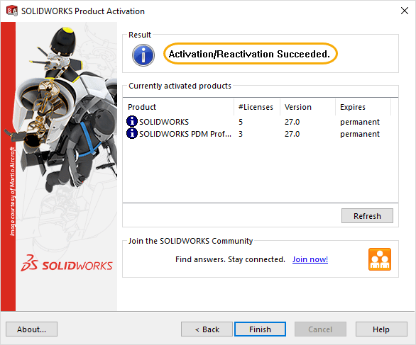 SOLIDWORKS activation / reactivation successful