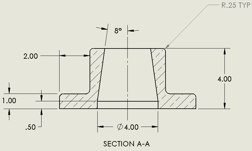Updated hatch pattern in section view