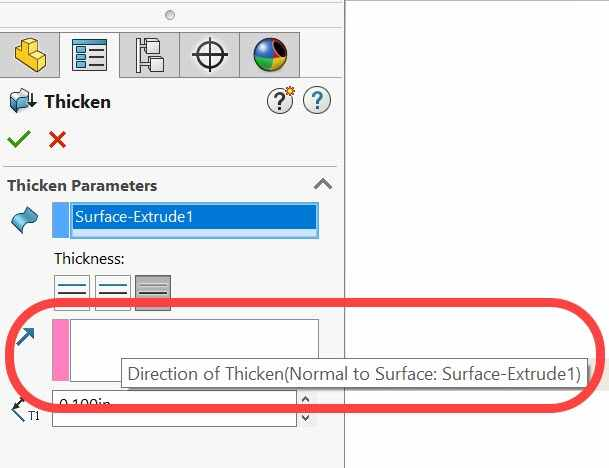 specifying thicken direction